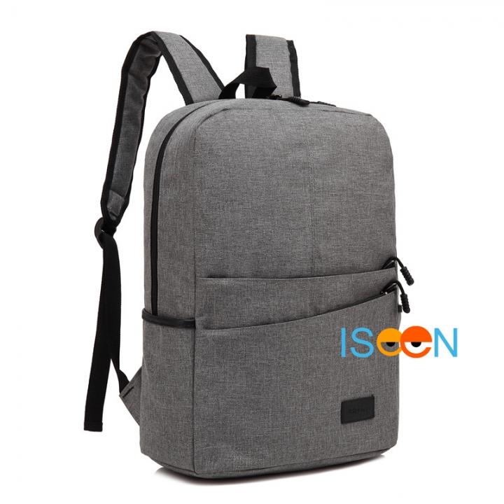 ISEEN Brand Canvas Backpack Women Men Large Capacity Laptop Student School Bags for Travel light grey 28.5cm*13.5cm*42.5cm