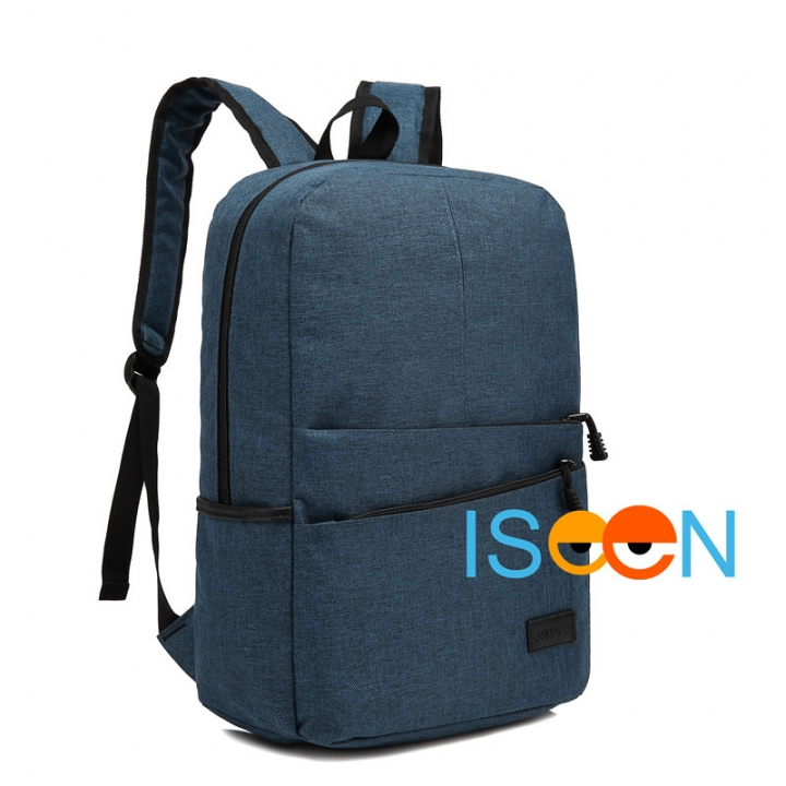 ISEEN Brand Canvas Backpack Women Men Large Capacity Laptop Student School Bags for Travel deep blue 28.5cm*13.5cm*42.5cm