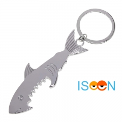 ISEEN Brand Shark Shaped Bottle Opener with Key chain Unique Creative Design silver 86*29*2.5mm