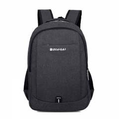 ISEEN Brand Canvas Backpack with USB Charging School bag Travel Rucksack for 15.6 inch Laptop black 30cm*15cm*40cm