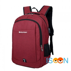 ISEEN Brand Canvas Backpack with USB Charging School bag Travel Rucksack for 15.6 inch Laptop red 30cm*15cm*40cm