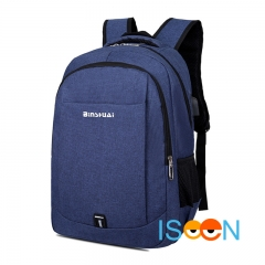 ISEEN Brand Canvas Backpack with USB Charging School bag Travel Rucksack for 15.6 inch Laptop light blue 30cm*15cm*40cm