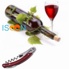 ISEEN Brand Quality Premium Mahogany Handle Stainless Double Hinge Corkscrew Cutter Wine Opener A 11cm*1.5cm*1cm