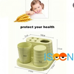 ISEEN Brand Toothbrush Toothpaste Holder Stand for Bathroom Storage Organizer Green 18cm*18cm*10cm