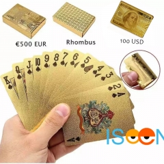 ISEEN Brand Gold Foil Poker US Dollar Style Plastic Poker Playing Cards Waterproof 100usd shape 5.7cm*8.8cm