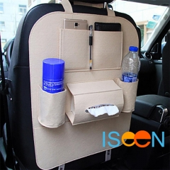 ISEEN Brand 2 Pieces Car Beige Seat Organizer Bottle Holder Travel Storage Bag Box Case