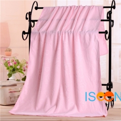 ISEEN Brand Big Size 140x70cm Microfiber Beach Bath Towel for Beach and Bathroom pink 70cm*140cm