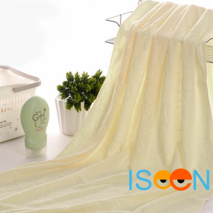 ISEEN Brand Big Size 140x70cm Microfiber Beach Bath Towel for Beach and Bathroom yellow 70cm*140cm