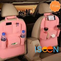 ISEEN Brand 2 Pieces Car Pink Seat Back Organizer Bottle Holder Travel Storage Bag Box Case