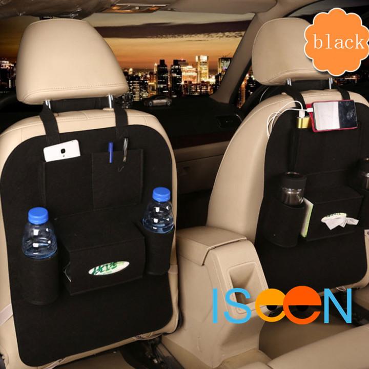 ISEEN Brand 2 Pieces Car Back Seat Black Organizer,Hanging Bottle Holder Travel Storage Bag Box Case