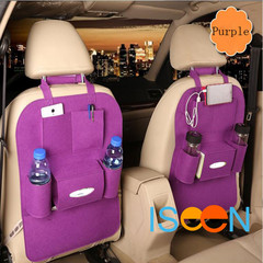 ISEEN Brand 2 Pieces Car Purple Seat Black Organizer Bottle Holder Travel Storage Bag Box Case