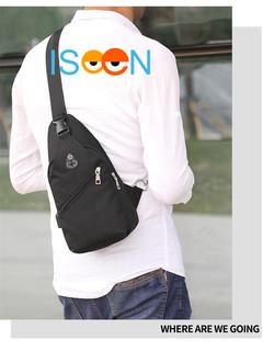 ISEEN Brand Sling Bag New Casual Men Women USB Charge Chest Bags Oxford cloth Sling Bag black 33.0 cm * 9.0 cm * 17.0 cm