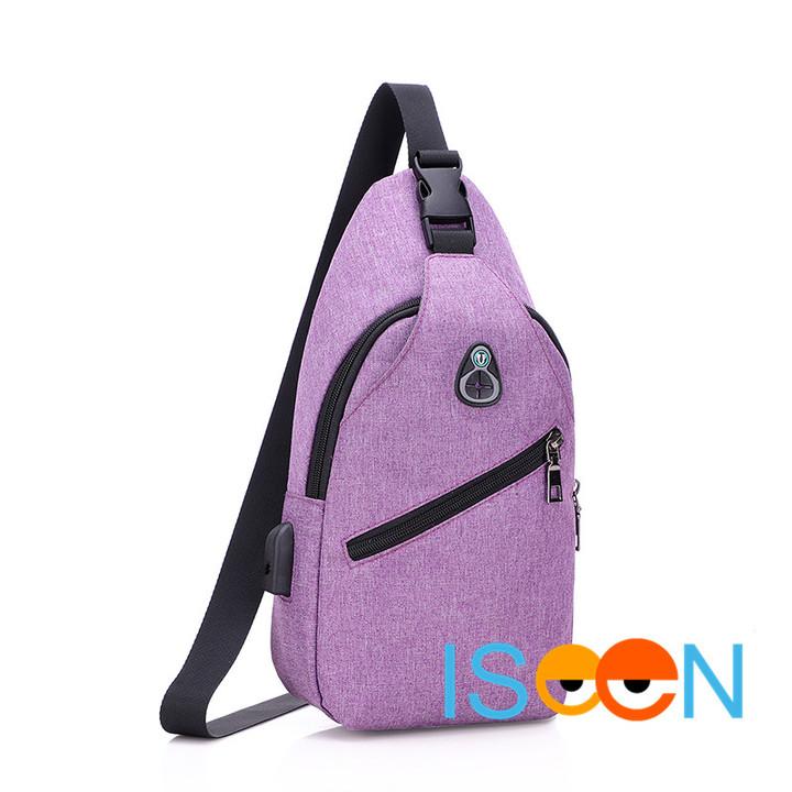 ISEEN Brand Sling Bag New Casual Men Women USB Charge Chest Bags Oxford cloth Sling Bag purple 33.0 cm * 9.0 cm * 17.0 cm