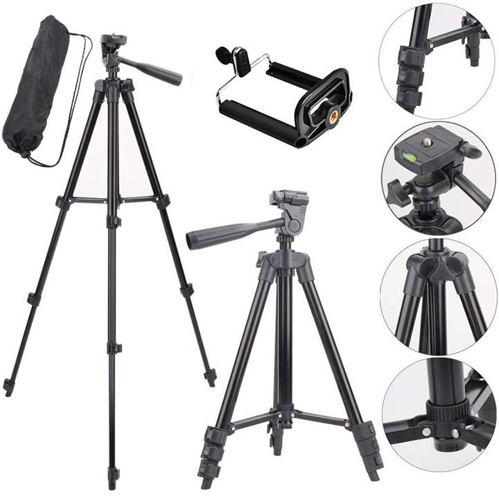 ISEEN Brand Tripod Stand 3-section Lightweight Mini Trip with bag and clip black 1 M