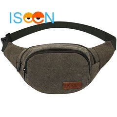 ISEEN Brand Unisex Canvas Pack Lightweight Classic Anti Theft Travel Waist Bag Army Green 27cm*5cm*14cm