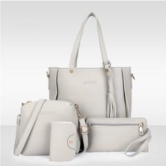 ISEEN Brand New Women Fashion Shoulder Bag Composite Bag 4 Piece Set grey 26*13*27cm