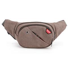 ISEEN Brand Canvas Waist Bags with earphone Men/Women Belt Bag Men Handy Waist Pack Travel Bag brown 38cm*8*17cm