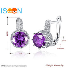 ISEEN Brand Brass Material Ear Clip Zirconia Pendant Anniversary Gifts for Women purple 1.6cm*1cm