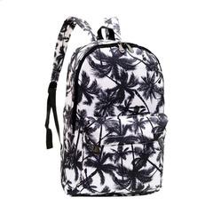 Fashion Printing Backpacks Women Vintage Canvas Shoulder Bag Large Capacity Girls School Bags black black 30cm*12cm*44cm
