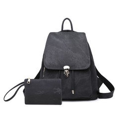 Women Fashion Backpack Female Travel Backpack Mochilas School PU Leather Large Laptop Shopping Bag black 34cm*32cm*10cm