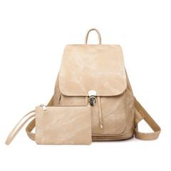 Women Fashion Backpack Female Travel Backpack Mochilas School PU Leather Large Laptop Shopping Bag khaki 34cm*32cm*10cm