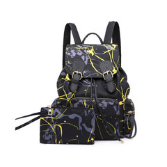 Women Fashion Backpack Female Travel Backpack Mochilas School PU Leather Large Laptop Shopping Bag black and yellow 34cm*32cm*10cm