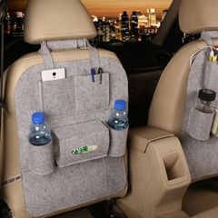 Car Back Seat Tidy Storage Bag Multi-Pocket Sack Organizer Holder Accessory light grey 22inch*16inch