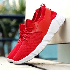 Men Casual Shoes Spring Autumn Women Breathable Sneakers Men Air Cushion Mesh Sports Shoes red 42