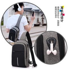 2019 Chest Package Man Single Shoulder Satchel Male Student Canvas Leisure Small Bag light grey 20cm*10cm*30cm