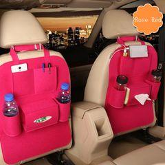 ISEEN Brand 2 Pieces Car Rose red Seat Organizer Bottle Holder Travel Storage Bag rose-red normal