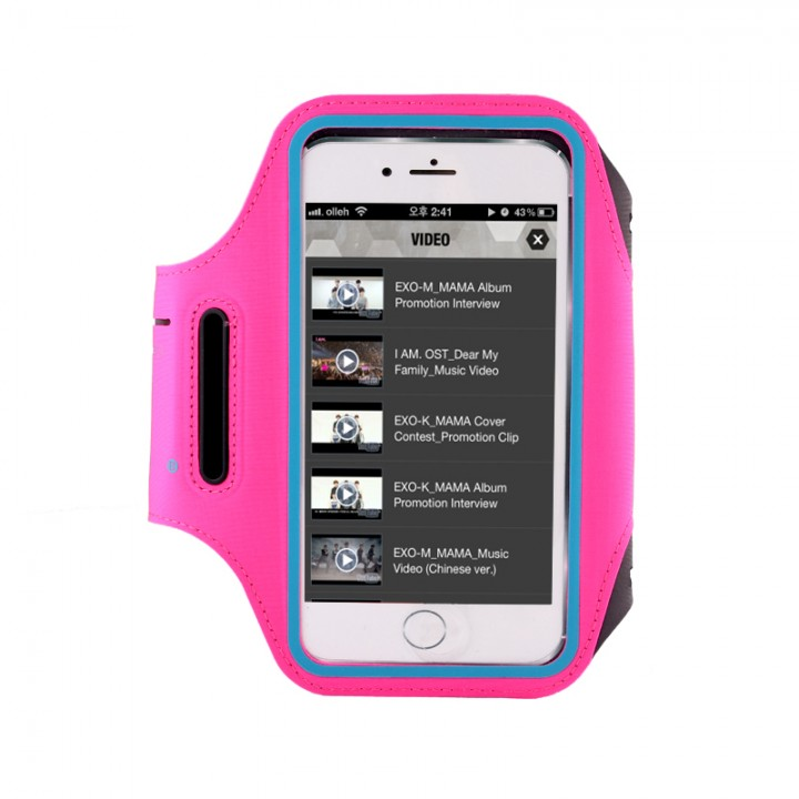 outdoor movement The New Ultra thin armband runningMobile phone Arm pack Can be touched screen rose red medium number