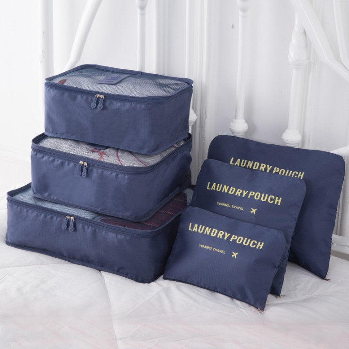 Outdoor Travel Incorporated Bag Set Clothing Baggage Sort Out Package Tourism Six Sets Navy Six sets