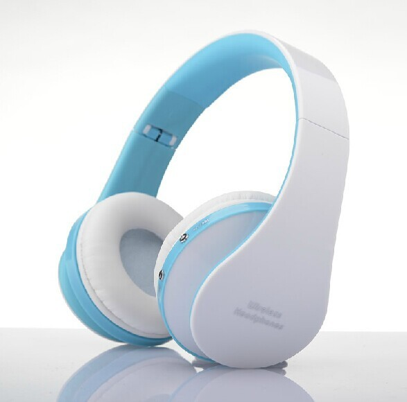 Wearing style  Bluetooth headset Foldable wireless stereo Mini movement headset new white and blue
