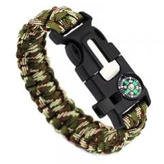 Camping Emergency Life-saving Compass Seeking bracelet field Fire Bracelet Flintstones Wristband Mountain camouflage one size