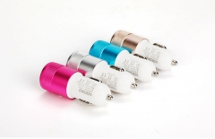 Metal Car Mobile phone Charger Mobile Phone Dual USB Car Charger Andrews Apple General gold one size