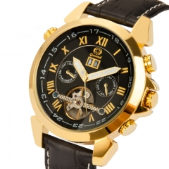 Fully Automatic Mechanical Watch Tourbillon Double Calendar Watch Men Fashion High End Belt Watch black gold belt one size