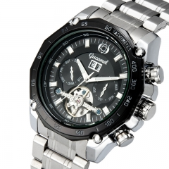 Fully automatic Mechanical Watch Double Calendar Upscale Business fashion Watch black strip one size