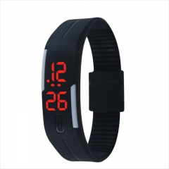 Fashion Silica gel led Wristband Watch Fashion Trend Child Student Touch Digital Watch Red Light black one size