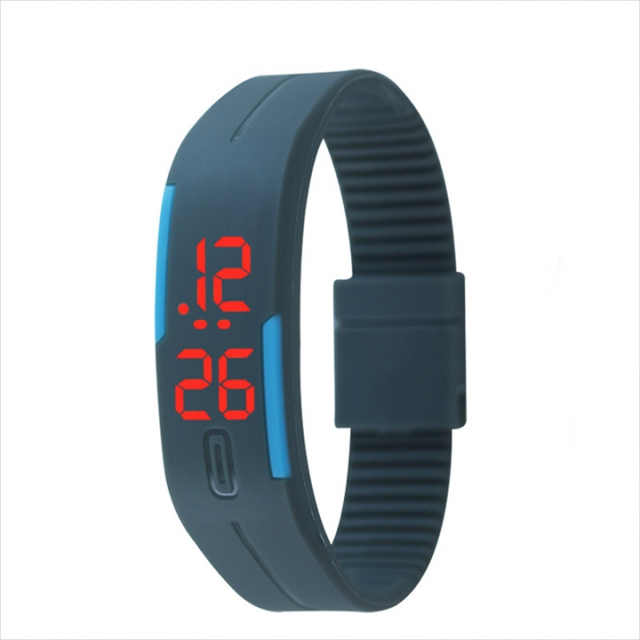 Fashion Silica gel led Wristband Watch Fashion Trend Child Student Touch Digital Watch Red Light gray one size
