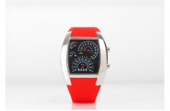 Fashion Dash Board Led flight Table Creative Sports Car dial digital Watch Personality Sector Watch red one size