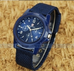 Switzerland Military  Cloth belt Braided rope Watch   Land and sea air force Movement table blue men