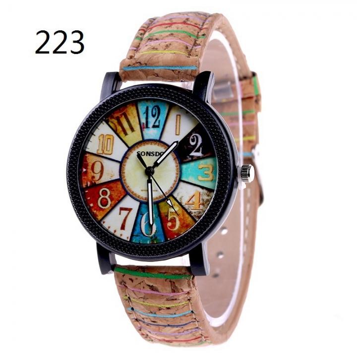 Ms Flowers Color Printing Belt Watch Personality fashion Watch Watch quartz Watch 223