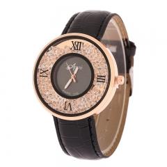 Ms Watch Western style Fashion Full Diamond Quicksand Female Models Watch Ms Watch black