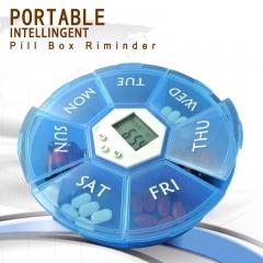 Intelligent Portable One week 7 days Medication Reminder electronic Kit drug Storage Box blue