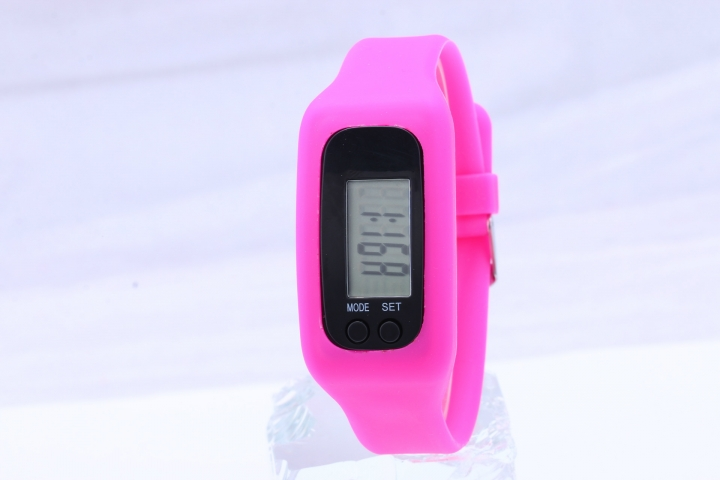 Led Multifunction fashion movement Pedometer Hand ring table Silica gel gift Watch rose red