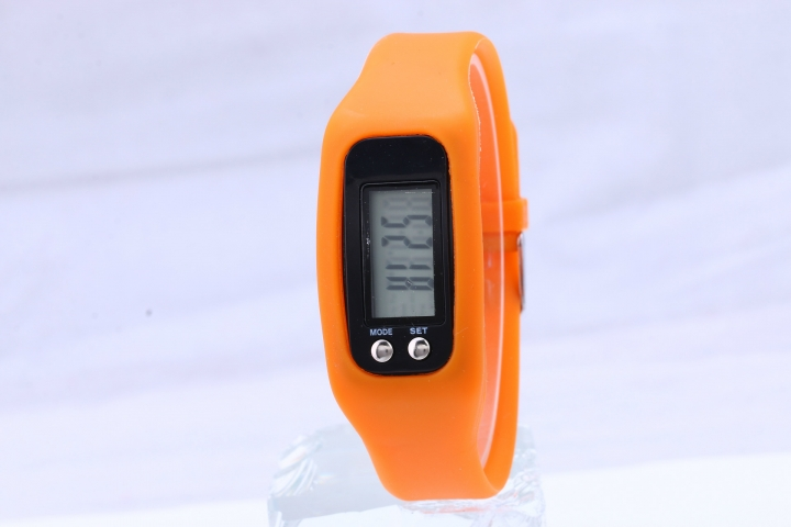 Led Multifunction fashion movement Pedometer Hand ring table Silica gel gift Watch orange