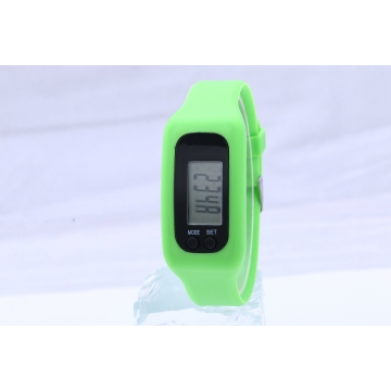Led Multifunction fashion movement Pedometer Hand ring table Silica gel gift Watch green