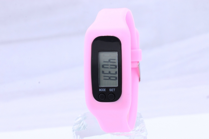 Led Multifunction fashion movement Pedometer Hand ring table Silica gel gift Watch pink