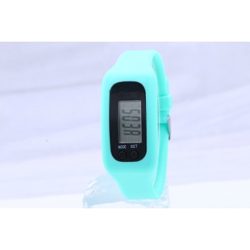 Led Multifunction fashion movement Pedometer Hand ring table Silica gel gift Watch Mint Green
