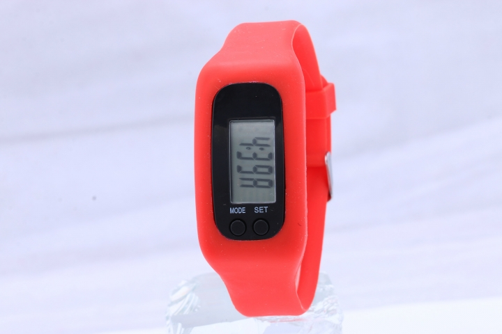 Led Multifunction fashion movement Pedometer Hand ring table Silica gel gift Watch red